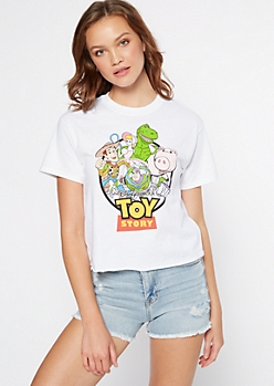 White Toy Story Boxy Graphic Tee