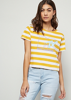 Mustard Striped MTV Graphic Tee