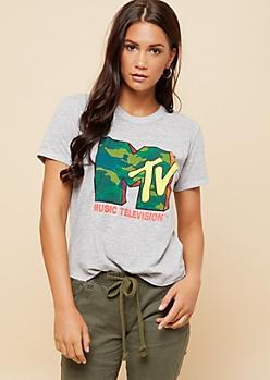 Heather Gray Camo Print MTV Logo Tee