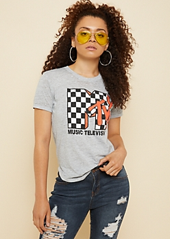 Gray Burnout Checkered MTV Fitted Tee