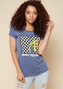 Navy Checkered MTV Cuffed Burnout Tee