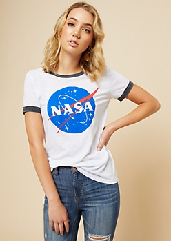 White NASA Burnout Ringer Graphic Tee