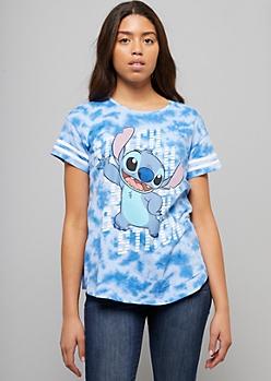 Blue Tie Dye Print Lilo & Stitch Graphic Tee