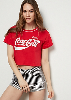 Red Coca Cola Graphic Crop Top