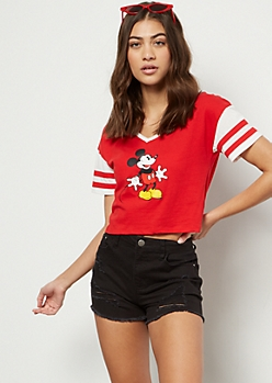 Red Varsity Striped Mickey Ringer Graphic Tee