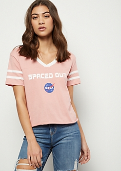 Pink Varsity Striped NASA Ringer Graphic Tee