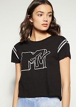 Black Varsity Striped MTV Graphic Tee