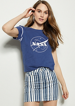 Navy Varsity Striped NASA Graphic Tee