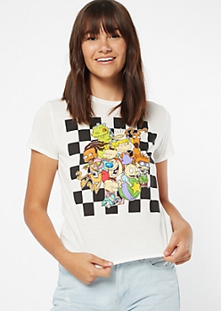 White Checkered Print Rugrats Graphic Tee