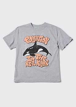 Recycled Heather Gray Killer Whale Graphic Tee