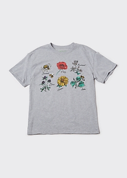 Recycled Heather Gray Wildflower Graphic Tee