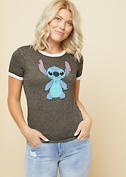 Gray Stitch Burnout Ringer Graphic Tee