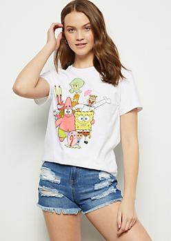 White SpongeBob Group Short Sleeve Graphic Tee