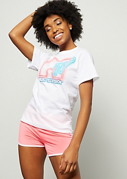 White Neon Light MTV Graphic Tee