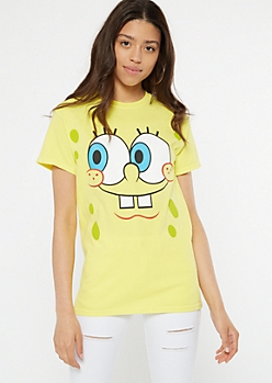 Yellow SpongeBob Close Up Graphic Tee