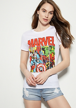 White Marvel Avengers Fitted Graphic Tee