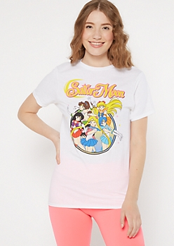 White Sailor Moon Group Graphic Tee