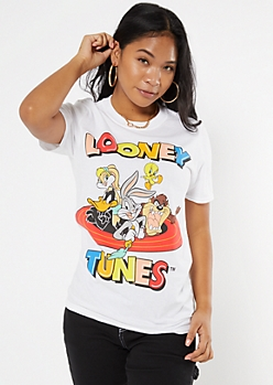 White Vintage Looney Tunes Crew Graphic Tee