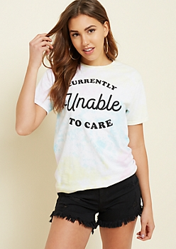Pastel Tie Dye Unable To Care Tee