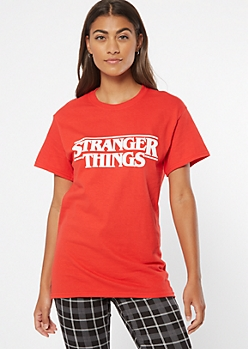 Red Stranger Things Logo Graphic Tee