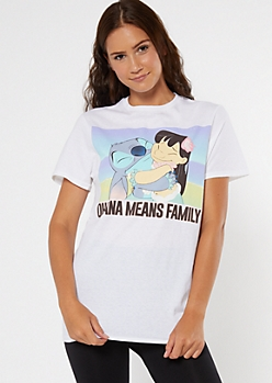 White Ohana Means Family Stitch Graphic Tee
