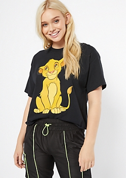 Black Simba Raw Cut Graphic Tee
