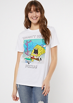 White SpongeBob Pizza Meme Graphic Tee
