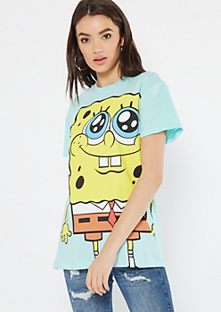 Mint Jumbo SpongeBob Gazing Graphic Tee