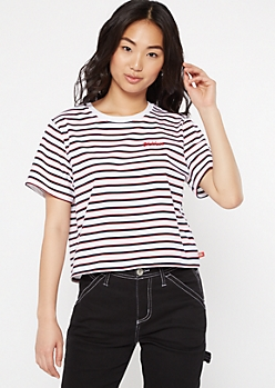 Dickies Navy Striped Embroidered Tee