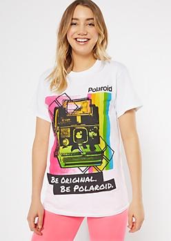 White Rainbow Be Original Polaroid Graphic Tee
