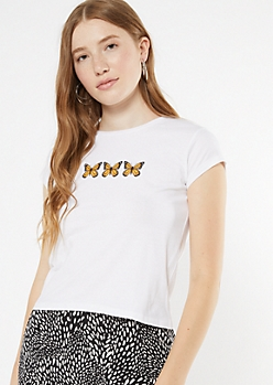 White Monarch Butterfly Embroidered Baby Tee