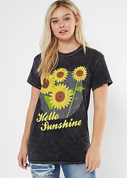 Washed Black Hello Sunshine Graphic Tee
