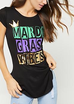 Black Mardi Gras Vibes Tee