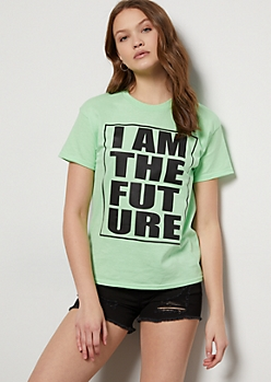 Green I Am The Future Graphic Tee