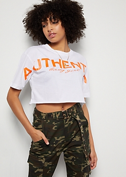 White Authentic Baby Girl Graphic Crop Top