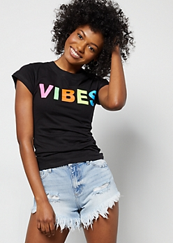Black Rainbow Vibes Fitted Graphic Tee