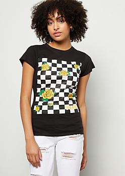 Black Checkered Print Rose Vibes Graphic Tee