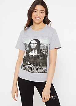 Gray Mona Lisa Influencer Graphic Tee