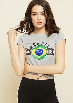 Gray Brazil World Cup Fitted Tee
