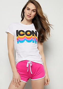White Neon Icon 3D Fitted Graphic Tee