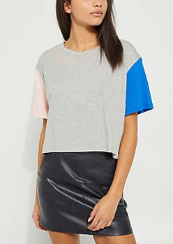 Gray Never Know Embroidered Dual Tone Sleeved Boxy Crop Top