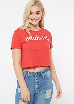 Red Short Sleeve Adultish Graphic Tee