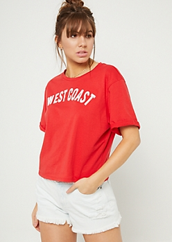 Red West Coast Crop Top