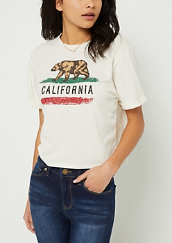 Ivory Cali Bear Crop Top