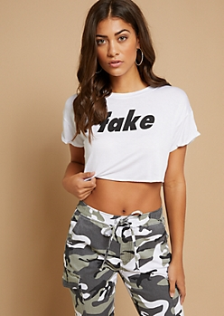 White Fake Rolled Sleeve Crop Top
