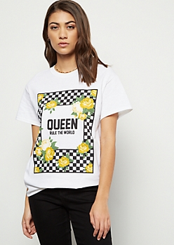 White Checkered Print Queen Rose Oversized Graphic Tee