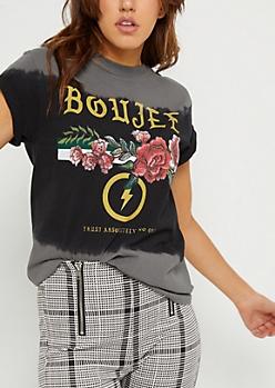 Gray Boujee & Roses Tie Dye Tee
