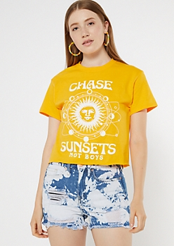 Yellow Chase Sunsets Celestial Boxy Graphic Tee