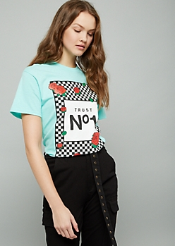 Mint Green Checkered Rose Graphic Oversized Tee