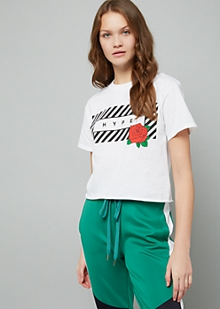 White Striped Hype Rose Skimmer Tee
